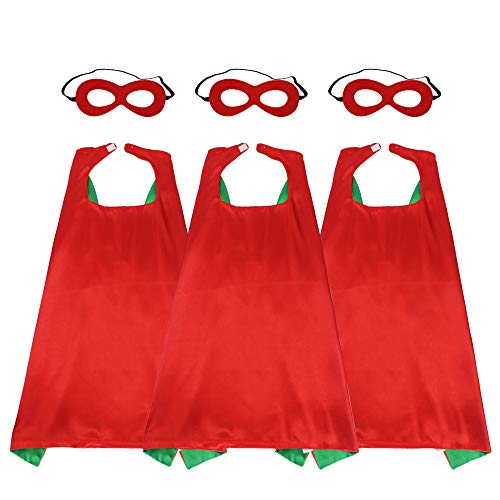 (43'' Adults Super Hero Capes Masks Set Red Green Dual Color-Women Men's Dress Up Party Costumes,3)