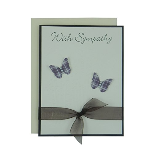 Sympathy Card – Handmade Sympathy Greeting Card – Purple Butterflies – Eggplant and Ivory with Sheer Ribbon – Butterfly Sympathy Card