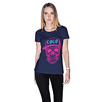 Creo Pink Blue Coco Skull T-Shirt For Women - M, Navy Blue