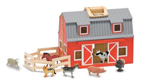 Melissa Unisex and Doug Wooden Fold Go Barn Set No Color One Size (Fold And Go Melissa And Doug Dollhouse)