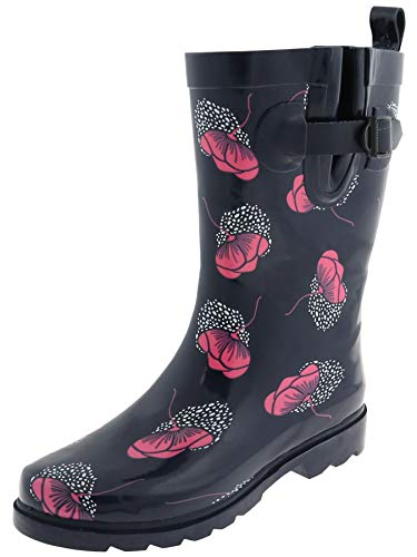 Capelli New York Ladies Shiny Floral Drop Printed Mid Calf Rain Boots Navy Combo ()