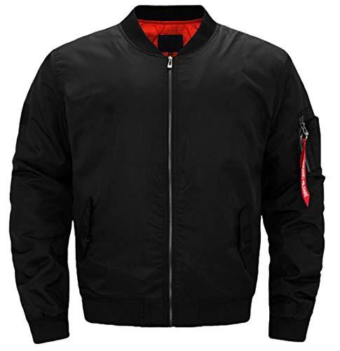 XTX Mens Zipper Jacket Solid Plus Size Military Quilted MA-1 Warm Flight Jacket Black 3XL