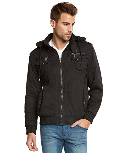 Sherpa Bomber - Maximos Men's Sherpa Lined Sahara Hooded Multi Pocket Bomber Jacket-Black-Small