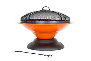 La Hacienda Orange Moda Enamelled Firepit Patio Heater Wood Burner