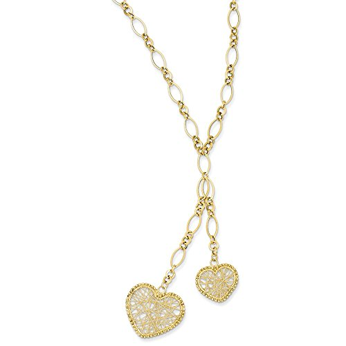 (14K Adjustable Heart Drop Necklace, Length: 16 in, 14 kt Yellow Gold )