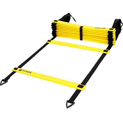 Fitmox Agility Ladder Plus Bonuses: Best Exercise Programs and Carry Bag Comes with 4 Durable Metal Pegs