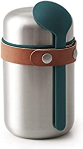 BLACK + BLUM Vacuum Food Flask Leak Proof Insulated Stainless-Steel Lunch Container with Ladle Spoon Ideal for Hot and Cold Food, 400 ml / 13.5 fl oz, Ocean