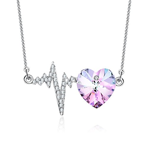 - GEORGE · SMITH The Crush Purple Heart Pendant Necklace with Swarovski Crystals Love Heartbeat Birthday Wedding Anniversary Jewelry for Girlfriend Wife