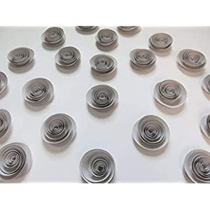 "24 Grey Paper Flowers Set, Gray Wedding Roses, Loose Table Decorations, Birthday Party Decor, Modern Bridal Shower Floral Centerpiece 1.5"" Rosettes For Table Runner 2"