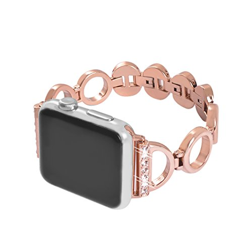 Band for Apple Watch 38mm Rose Gold,iWatch Women Bling metal Replacement Bracelet,Series 3 Crystal Diamond Wristband Stainless Steel Strap for Apple Watch 38mm Series 3/2/1 Nike+ Sport Edition
