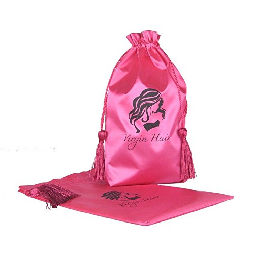 Jetdio Virgin Hair Packaging Bag with Drawstring, Hair Extension Bundles Satin Bag with Tassel, 5 Pack, Pink