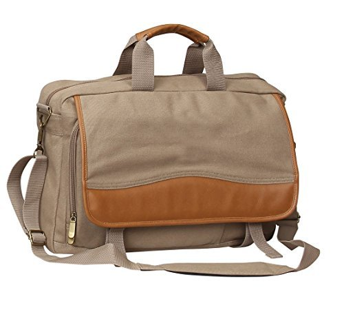 Preferred Nation Expandable School Working Canvas Briefcase Bag  Sand By Preferred Nation