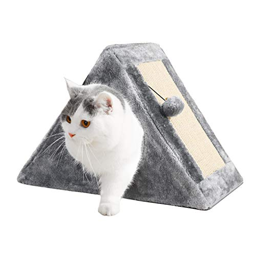 PAWZ Road Cat Tower with a Cozy Condo Scratching Board and Fuzzy Ball Easy to Fold and Store Great for Kittens and Small Cats- Gray (Stores Furniture Condo)