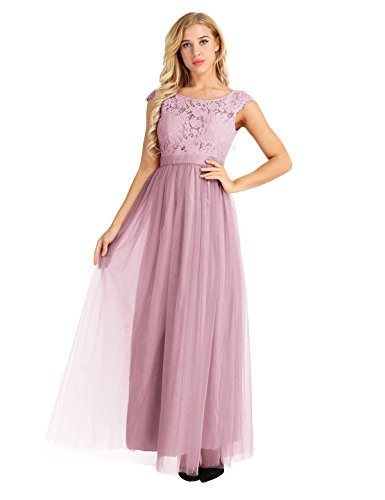 iEFiEL Women Floral Lace Open Back Tulle Bridesmaid Long Dresses Elegant Event Wear Dusty Rose 10 - 10 Dusty Rose