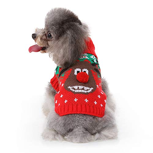ZDJR Dog Christmas Sweater, Dog Reindeer Ugly Xmas Sweater for Cat Puppy & Small Dog,XXL (Take Your Cat And Leave Your Sweater)