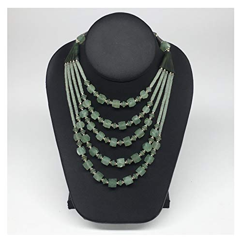(1pc, 2-23mm Green Nephrite Jade Multi-Strand Bead Necklace,@Afghanistan,TN477)