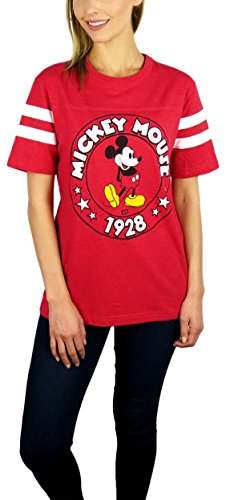 Disney Womens Mickey Mouse Varsity Football Tee (Medium, Red)