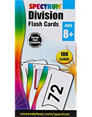 Spectrum - Division Flash Cards - 100 Arithmetic Cards of Division Facts and Place Values with Bonus Game Card for 3rd to 5th Grade Math, Ages 8+