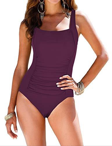 (Mycoco Women's Shirred One Piece Swimsuit Tank Bathing Suits Tummy Control Swimwear Burgundy 12)