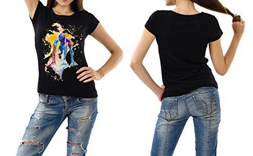 Running_VIII schwarzes modernes Damen / Frauen T-Shirt mit stylischen Aufdruck