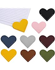 TRYAH 8pcs Leather Heart Bookmarks Corner Cute Marker Reading Accessory Leather Bookmark Blanks for Women Book Lovers Gifts Assorted Color