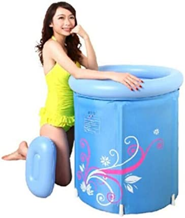 丸型折りたたみ式バスタブ家庭用浴槽子供用インフレータブルプール四季があります底を厚くして保温,Blue-70*68cm