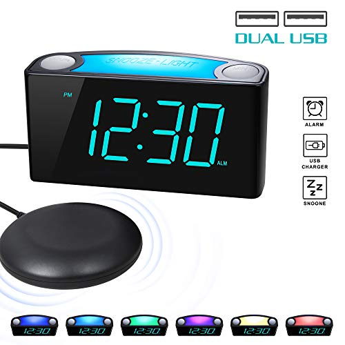 ROCAM Vibrating Loud Alarm Clock with Bed Shaker, Best Sounds, Large LED Display with Dimmer, 7 Colored Night Light, Dual USB Charger for Heavy Sleepers, Hearing Impaired, Deaf People, Seniors (Blue)