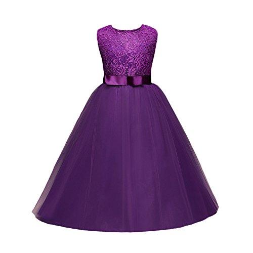 Gusspower Niñas Niños Largo Vestido Gala Encaje Vestidos De Ceremonia Fiesta Elegantes Nena Boda Damas De Honor Coctel Navidad Vacaciones Noche Vestido De Princesa Púrpura