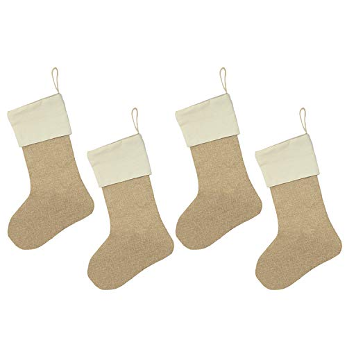 Burlap Christmas Stockings 17'' Christmas Decorations DIY Gift Set of 4 by Gutap