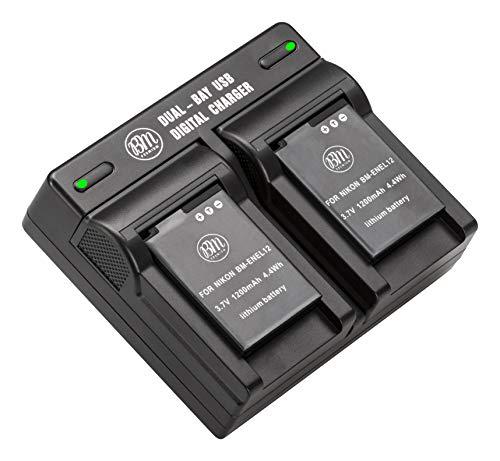 BM Premium 2 EN-EL12 Batteries & Dual Charger for Nikon Coolpix A1000 B600 W300 A900 AW100 AW110 AW120 AW130 S6300 S8100 S8200 S9050 S9200 S9300 S9400 S9500 S9700 S9900 P330 P340 KeyMission 170, 360