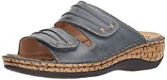 Supple, full-grain leather with stitched accents gives this sandal style that you'll want to wear all summer long. They feature removable footbeds to accommodate orthotics, and the pu outsole provides cushion, traction and durable wear for wa...