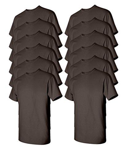 Gildan Men's Heavy Cotton Tee (Pack of 12), Dark Chocolate, X-Large (Chocolate Ash Grey T-shirt)