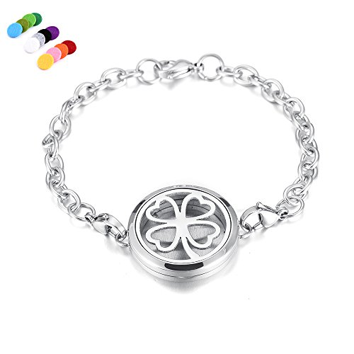constantlife 20 Different Design 316L Stainless Steel Chain Bracelet Fragrancy Diffuser Fashion Essential Oil Diffuser Bracelet Jewelry (Clover)