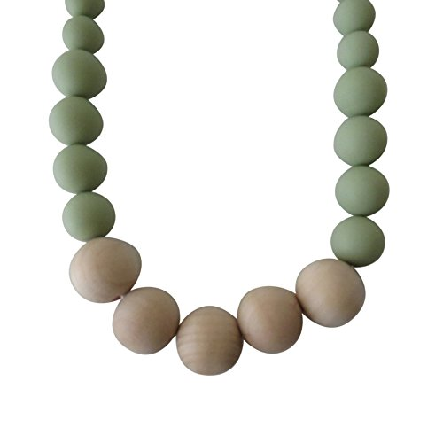 Eco-Friendly Silicone Teething Necklace, Mint, Organic Wood, BPA-Free
