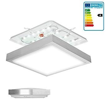 ECD Germany Lámpara de luz LED Lámpara de techo Lámpara de pared Bajo consumo 12W en aluminio 30x30 cm Ahorradora de energía