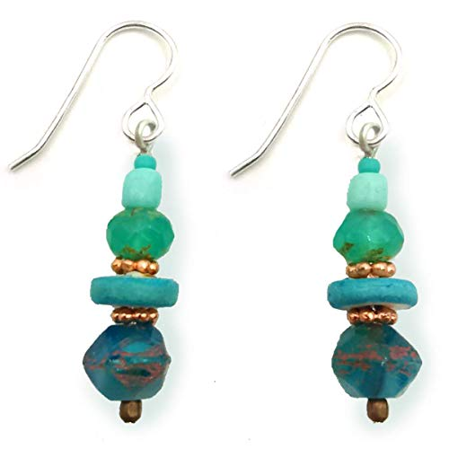 Tranquil Ocean Beaded Glass Dangle Drop Earrings Aqua Turquoise Blue Sea Colors Accented with -