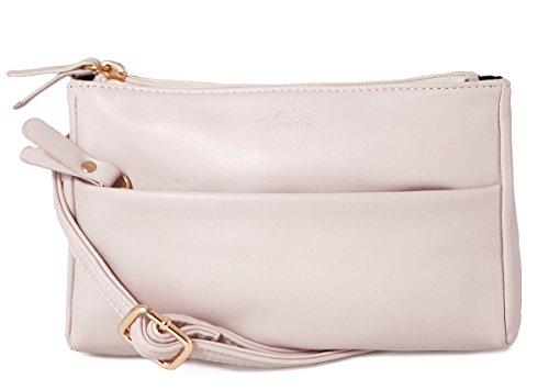 Double Crossbody Bag Small Zip Satchel Beige Women for 8wx8aqF