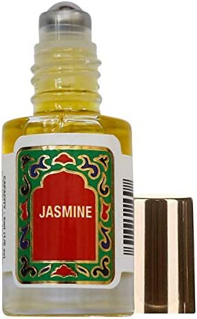 Jasmine Perfume Oil Roll-On - Jasmine Fragrance Oil Roller (No Alcohol) Perfumes for Women and Men by Nemat Fragrances, 5 ml / 0.17 fl Oz