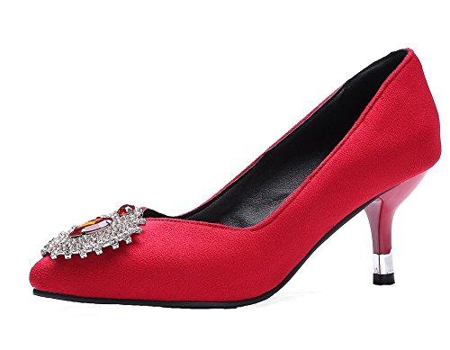 VogueZone009 Damen Mittler Ziehen auf Mattglasbirne Spitz Zehe Pumps Schuhe Rot