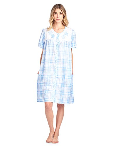 Casual Nights Women's Short Sleeve Snap-Front Lounge Robe House-Dress - Plaid Blue - Large (Duster Sleeve Short)