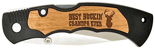 Birthday Gift for Grandpa Best Buckin Grandpa Laser Engraved Stainless Steel Folding Pocket Knife