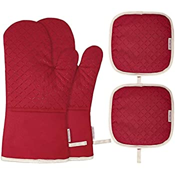 BESTONZON 4PCS Heat Resistant Oven Mitts and Pot Holders, Soft Cotton Lining with Non-Slip Surface for Safe BBQ Cooking Baking Grilling (Red)