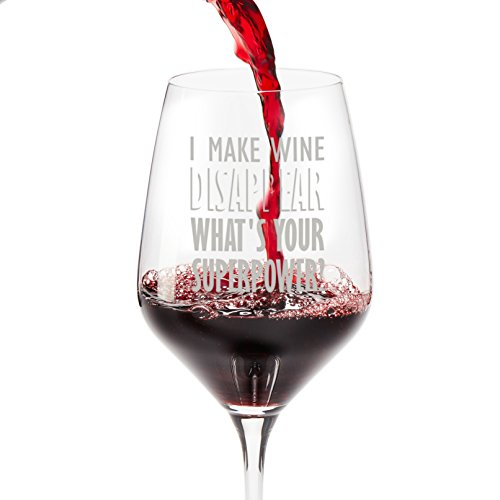 Sayings Thank You (Wine Glasses for Funny Gifts: I Make Wine Disappear. What's Your Superpower?; Large 18.5 oz Red Wine Glass - Great Friendship Gifts for Women or Men, Come in a Gift Box)