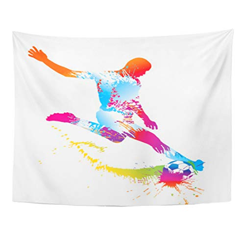 Emvency Tapestry 80 x 60 Inches Sport Soccer Player Kicks The Ball Silhouette Rainbow Star Stadium Training Home Decor Tapestries Wall Hanging Art for Living Room Bedroom