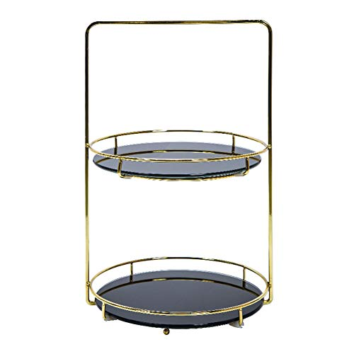 Liitrton 2 Tiered Jewelry Tray with Handle Decorative Removeable Display Stand Desktop Storage Organization