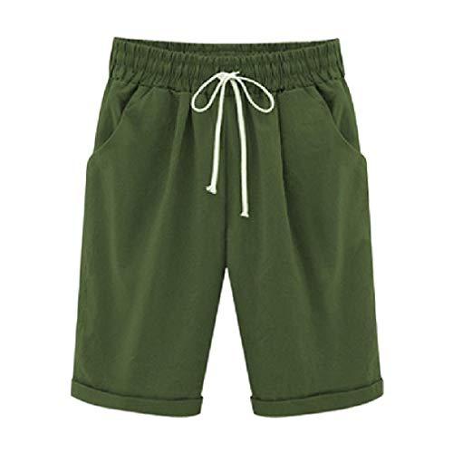 Coolred-Women Straight Pork Chop Pocket Elastic Waist Linen Shorts Army Green 2XL ()