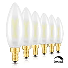 CRLight 2W dimmable LED Filament Candelabra Light Bulb, 5000K Daylight (Bright White) 200LM, E12 Candle Base Lamp, B10 Torpedo Shape Bullet Top, frosted Glass Cover, 20W equivalent, 6 Pack