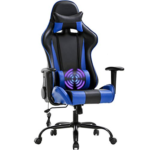 Gaming Chair Massage Office Chair Racing Desk Chair High Back PU Leather Executive Rolling Task Adjustable Computer Chair with Lumbar Support Headrest Armrest Swivel Chair, Blue