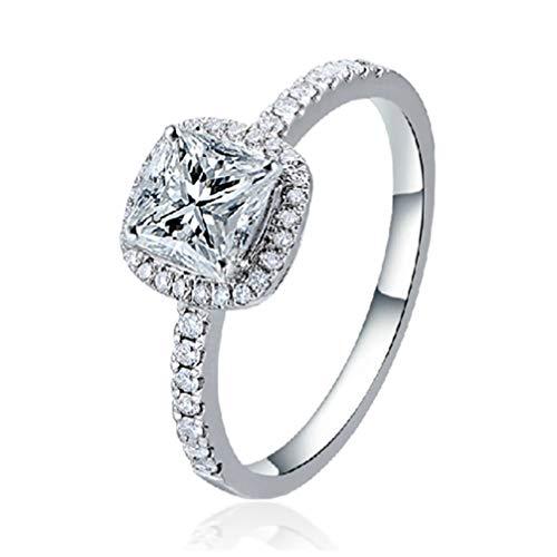Myhouse Rectangular Rhinestone Crystal Knuckle Ring Inlaid Zircon Women Finger Ring, 5
