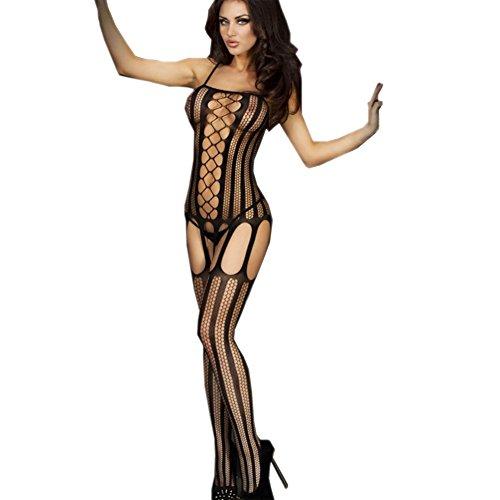 LTEllZ SU30004C1 Lace Siamese Women Sexy Dress - Size M - Banana Curl Wig